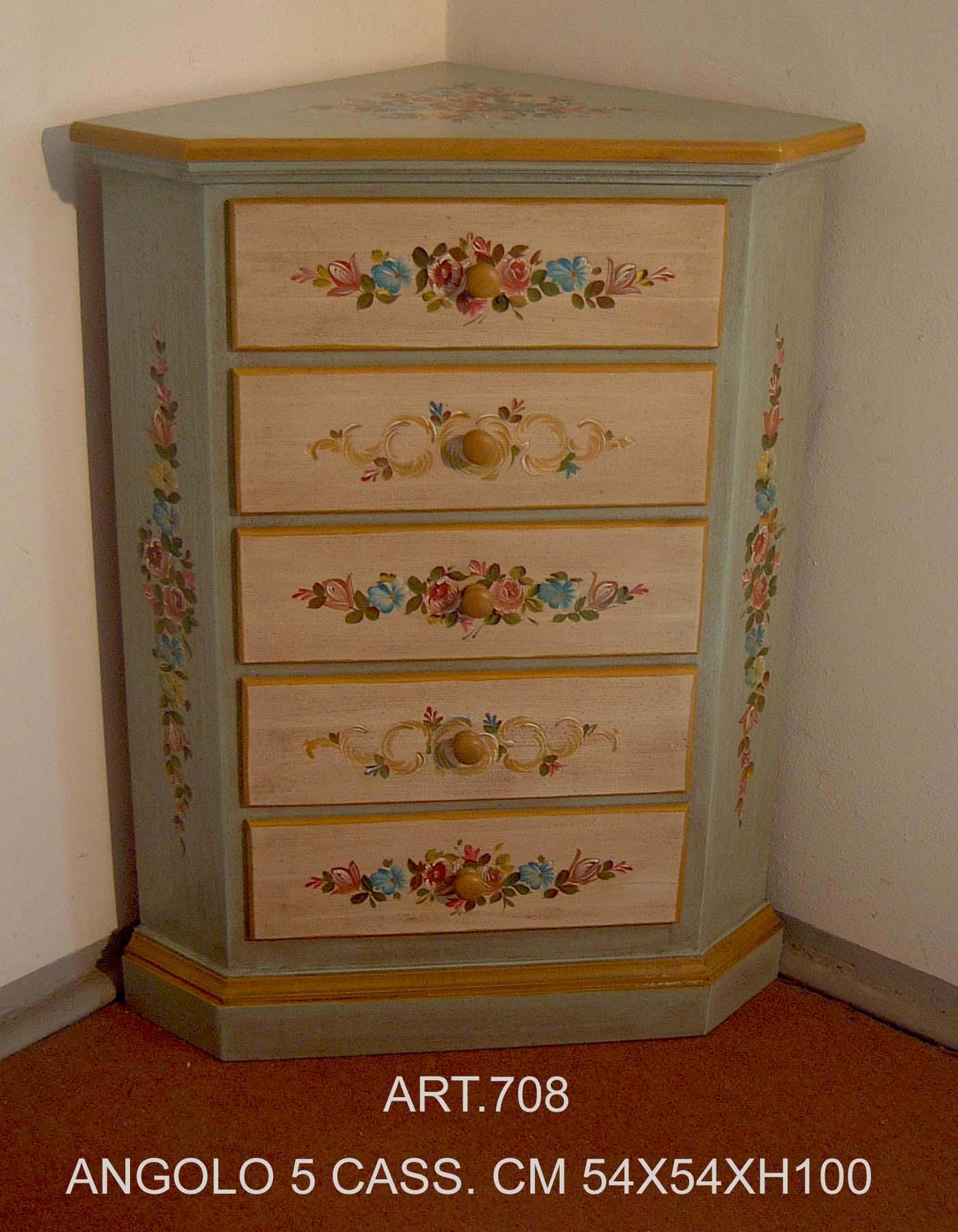 Angoliera in legno 5 cassetti dipinta a mano da arigianato trentino