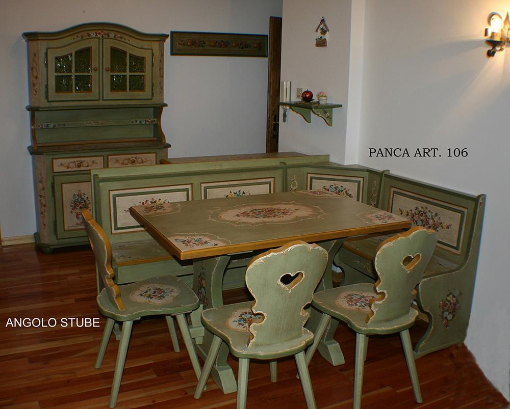 Tavolo panca angolo 3 sedie decorato trentino for Tavolo cucina con panca